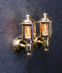 Pair of Colonial Coach Lamps in brass