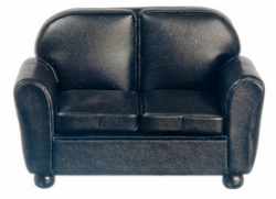 Black Leather Look Loveseat