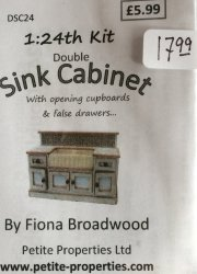 Half Inch Scale Double Sink Cabinet Kit