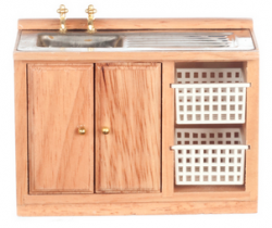 Kitchen Sink with Storage in Oak Colored Wood
