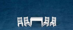 White Wood Table and Four Chairs