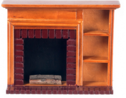Fireplace with Shelves Walnut Color Wood