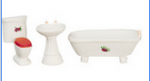 White with Floral Decal Three Piece Bathroom Set