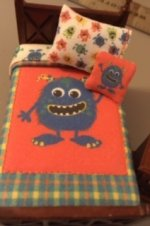 Bed and Nightstand with Monster Bedding Set