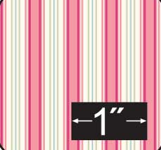 Cherry Stripe Cotton Fabric Half Inch Scale