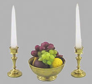 Fruit Bowl with Candlesticks