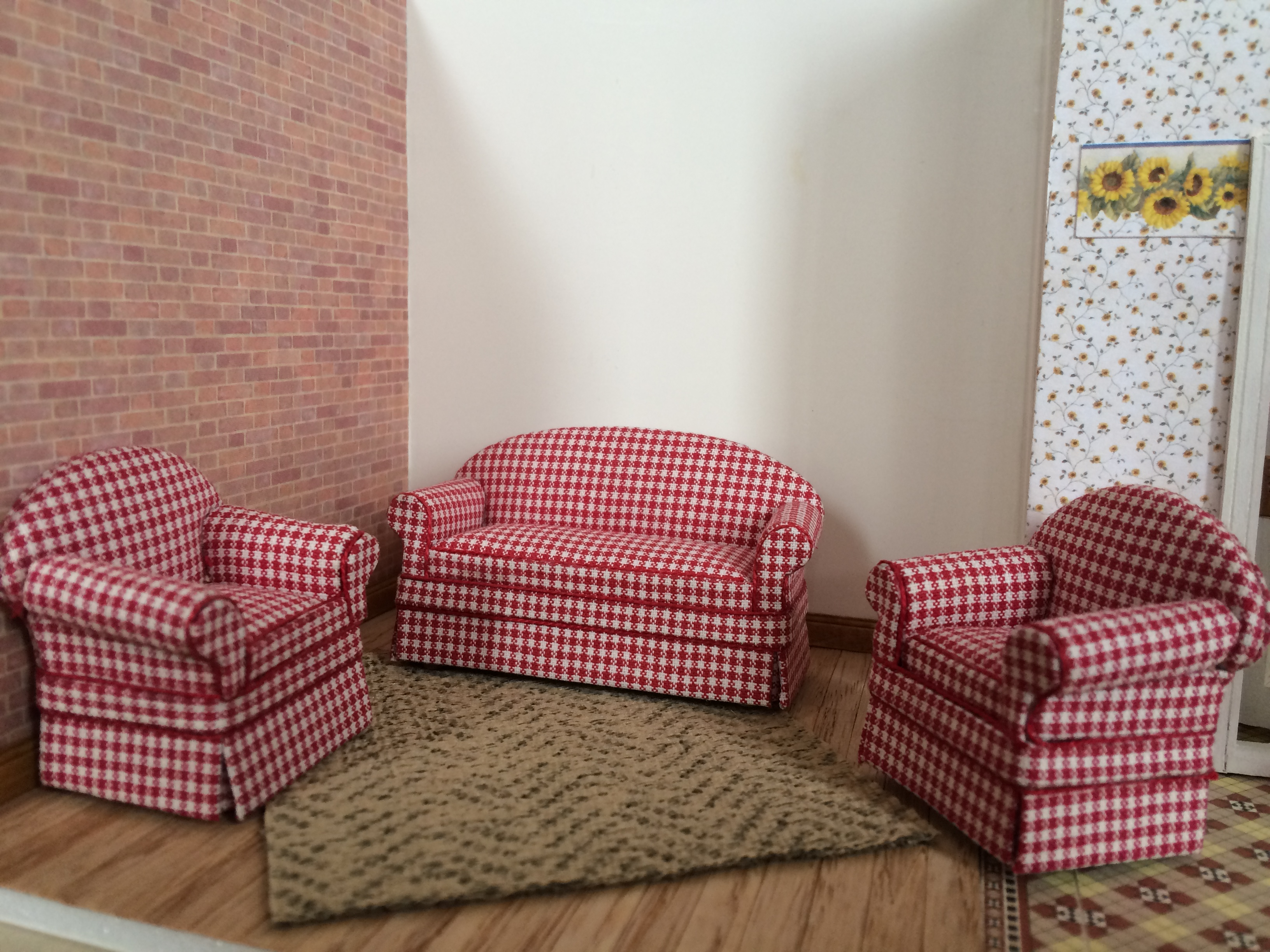 Red Check Sofa Set