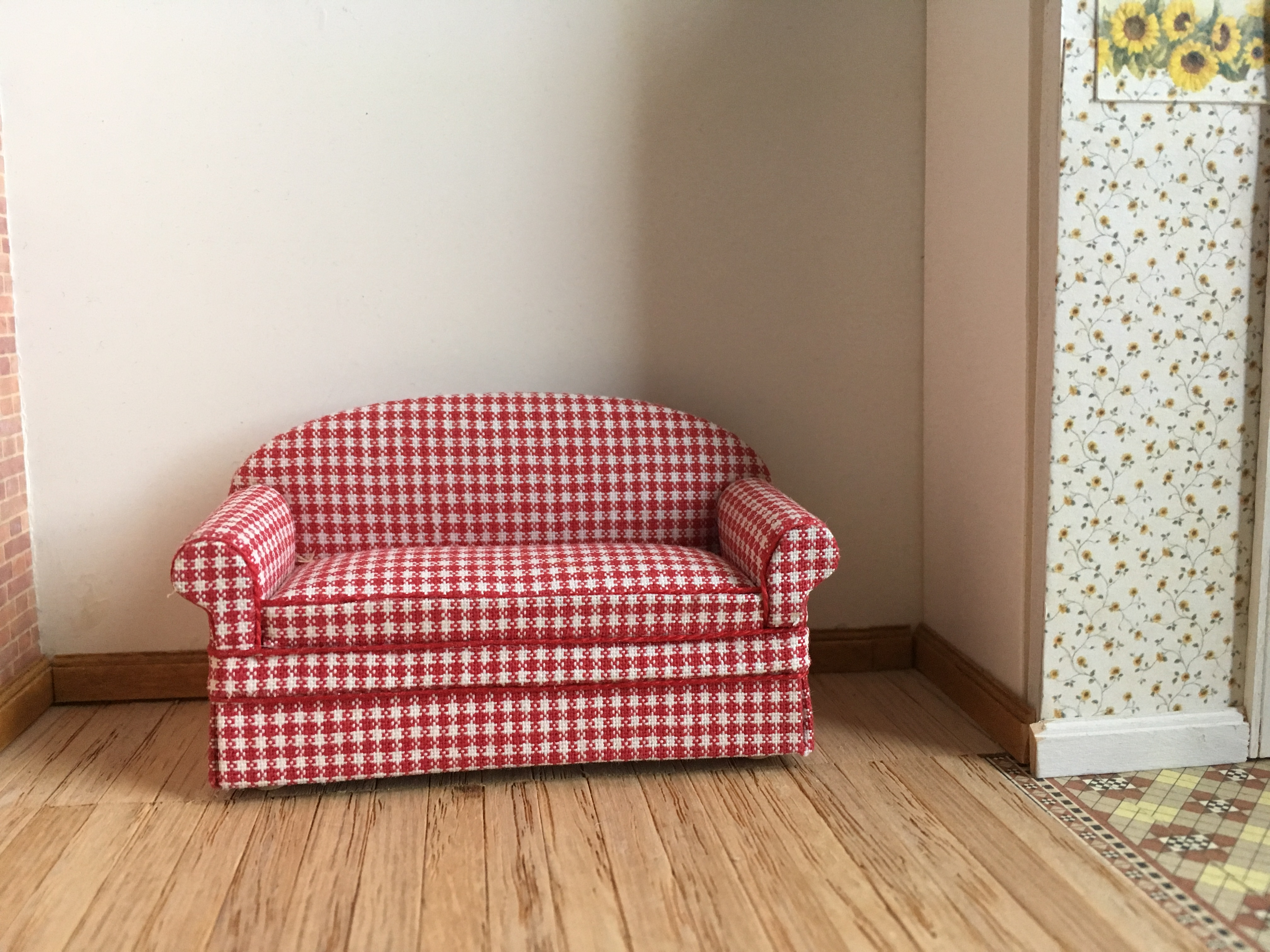 Red Check Sofa