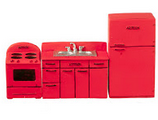 Retro 1950's Style Kitchen Set in Red